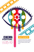 Vector cinema festival poster, banner background. Human eye with colorful liquid film reel in pupil. Sale cinema theatre tickets, movie time, media, watching video tv and entertainment concept.