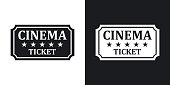 Vector cinema ticket icon. Two-tone version on black and white background