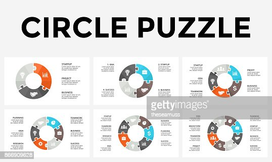 Vector circle arrows puzzle infographic, cycle diagram, graph, presentation chart. Business concept with 3, 4, 5, 6, 7, 8 options, parts, steps, processes : stock vector
