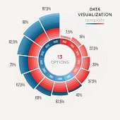 Vector circle chart infographic template for data visualization with 13 parts. Easy to edit and to build your own chart.