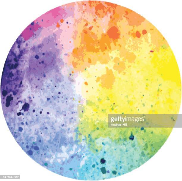 Vector Circle Design Element with Watercolor Texture in Rainbow Colors