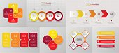 Vector circle infographic set. Business diagrams, round arrows graphs, puzzle presentations and charts. Data infographics with 4 options, parts, steps, cycle processes.