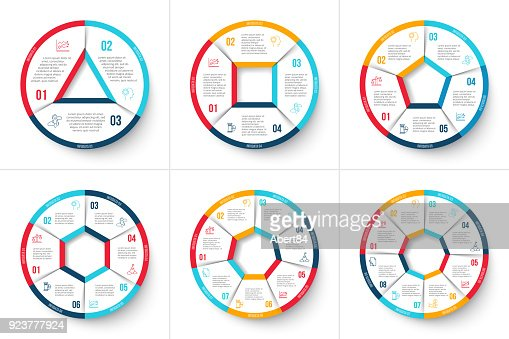 Vector circle infographic. Template for cycle diagram, graph, presentation and round chart. Business concept with 3, 4, 5, 6, 7 and 8 options, parts, steps or processes. Data visualization. : stock vector