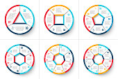 Vector circle infographic. Template for cycle diagram, graph, presentation and round chart. Business concept with 3, 4, 5, 6, 7 and 8 options, parts, steps or processes. Data visualization.
