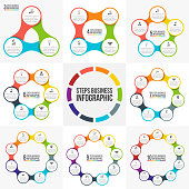 Vector circle infographic. Template for cycle diagram, graph, presentation and round chart. Business concept with 3, 4, 5, 6, 7, 8, 9 and 10 options, parts, steps or processes. Data visualization.