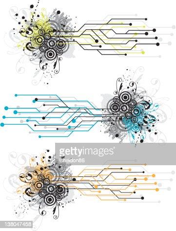 Vector circuit grunge elements : Vector Art