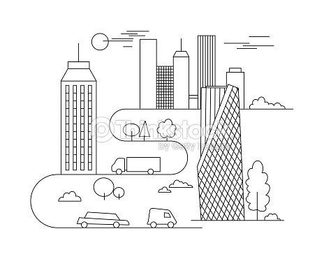 Ilustración De Ciudad Vector De Plantilla De Estilo Lineal Edificios ...
