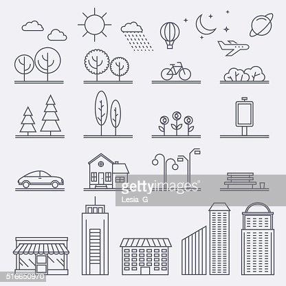 Illustrazioni vettoriali di città in stile lineare. Icone e illustrazioni : Arte vettoriale
