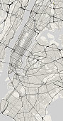 Vector map of New York in black and white, city map simple style