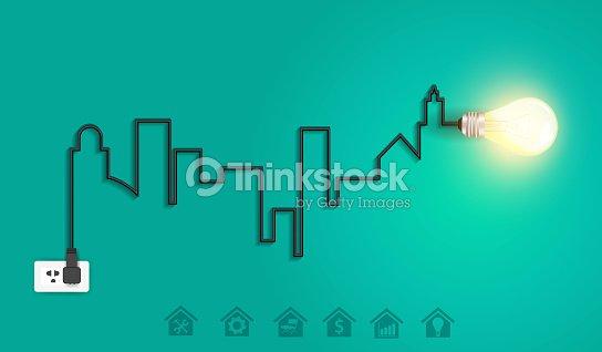 Vector Cityscape With Creative Wire Light Bulb Idea Concept Art