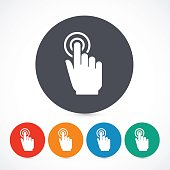 Vector click hand icons isolated on whith background. Circle touch screen symbols. 5 different colors.