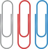 Color metal and plastic paperclips isolated