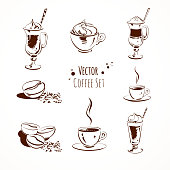 Vector coffee set. Isolated.