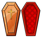 Vector illustration of coffin on white background