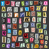 Vector collage alphabet letters made from newspaper magazine abc paper text cut type typography sign illustration.