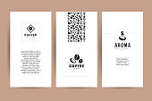 Vector collection of artistic cards with coffee emblems &  , hand drawn coffee beans & seeds, textures & patterns. Coffee company shop insignia design.