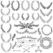 Vector Collection of Black Line Laurels, Floral Elements and Banners. No transparencies or gradients used. Large JPG included. Each element is individually grouped for easy editing.