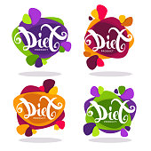 vector collection of bright  stickers, emblems and banners with diet lettering composition