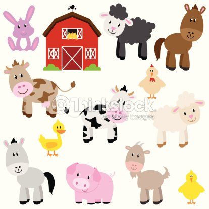 Vector Collection of Cute Cartoon Farm Animals and Barn