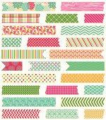 Vector Collection of Cute Patterned Washi Tape Strips. No transparencies or gradients used. Large JPG included. Each element is individually grouped for easy editing.