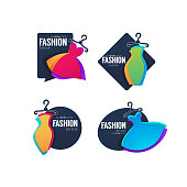 vector collection of fashion show logo, label, emblems with bright  dresses and lettering composition for your brand boutique and store