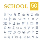 Vector collection of flat simple linear education icons isolated on white background. School studying icons design set. Knowledge, business symbols, signs. Contour drawing.