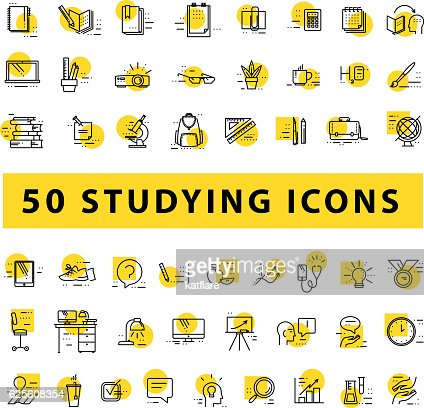 Vector collection of flat simple linear education icons : Arte vettoriale
