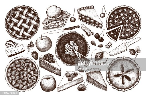 Vector collection of  fruit and berry baking illustration. : stock vector