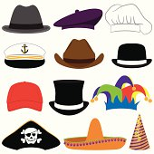 Vector Collection of Hats or Photo Props. Transparency and gradient used only in glare on party hat. Large JPG included. Each hat is individually grouped for easy editing.