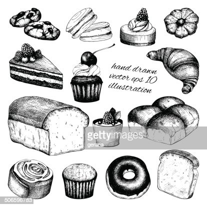 Vector collection of ink hand drawn vintage breads and pastries : stock vector