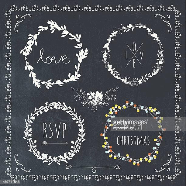 vector collection of ornamental laurel wreath designs on blackboard