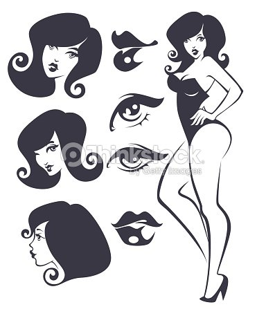 vector collection of pinup girls and faces vector art thinkstock