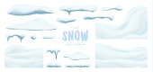 Vector collection of snow caps, pile, icicles, isolated on background, transparent, ice, snowball and snowdrift. 3d Winter decorations, Christmas, snow texture, white elements, holiday design, vector