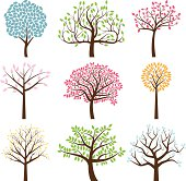 Vector Collection of Tree Silhouettes. No transparencies or gradients used. Large JPG included. Each element is individually grouped for easy editing.