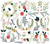 Vector Collection of Vintage Style Hand Drawn Christmas Holiday Florals. No transparencies or gradients used. Large JPG included. Each element is individually grouped for easy editing.