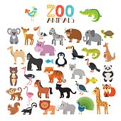 Vector collection of Zoo animals. Set of cute cartoon animals. Vector illustration