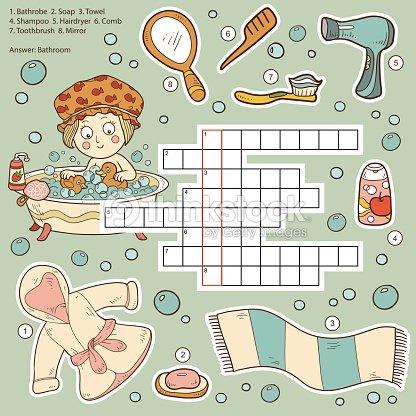 Vektorfarbe Kreuzworträtsel Bildung Spiel Für Kinder über Badezimmer ...