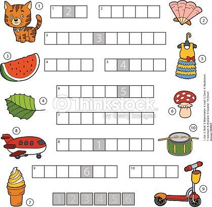 Vektorfarbe Kreuzworträtsel Bildung Spiel Für Kinder Vektorgrafik ...