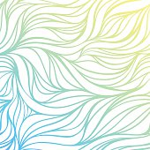 Vector color hand-drawing wave sea background. Blue abstract ocean texture.