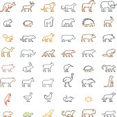 Vector color line set of silhouettes of animals. Line icon ferret, meerkat, chicken, hedgehog, cat, dog and others. Open path.