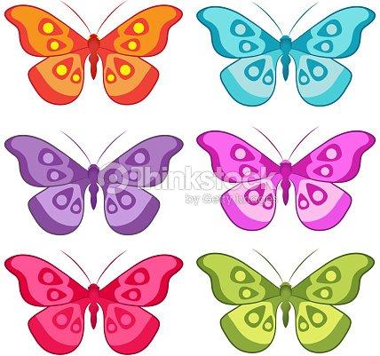 Vecteur couleur ensemble de papillons color s clipart - Papillon dessin couleur ...