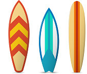 Color surfboard set. Sea extreme sport pattern. Vector illustration