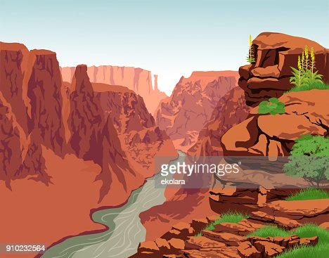 Vector Colorado river in Grand Canyon National Park : stock vector