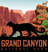 Vector Colorado river in Grand Canyon National Park with mountain lion and bighorn sheeps