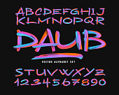 Vector colorful abstract alphabet set. Bright modern brush font.