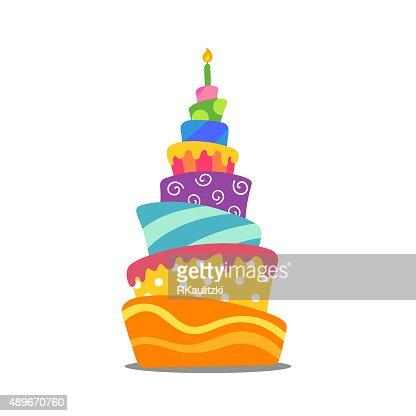Vector Colorful Abstract Birthday Cake Vector Art Thinkstock
