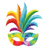 Colorful Venetian carnival mardi gras party mask with bright feathers. Mask with modern triangle pattern.