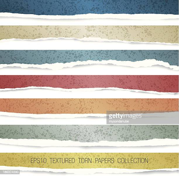 vector colorful end textured torn papers collection
