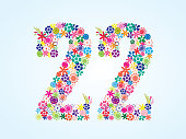 Vector Colorful Floral 22 Number Design isolated on white background. Floral Number Twenty Two Vector Typeface.