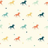 Vector colorful horse seamless pattern. Vector year symbol seamless pattern.
